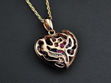 Colorful Zircons rolling in the Heart! 18K Rose Gold Plated