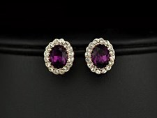 18K Rose Gold Plated Classic Dignity Amethyst Oval Crystal Stud