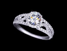 Womens Carved Shank Micro CZ Pave Engagement Ring